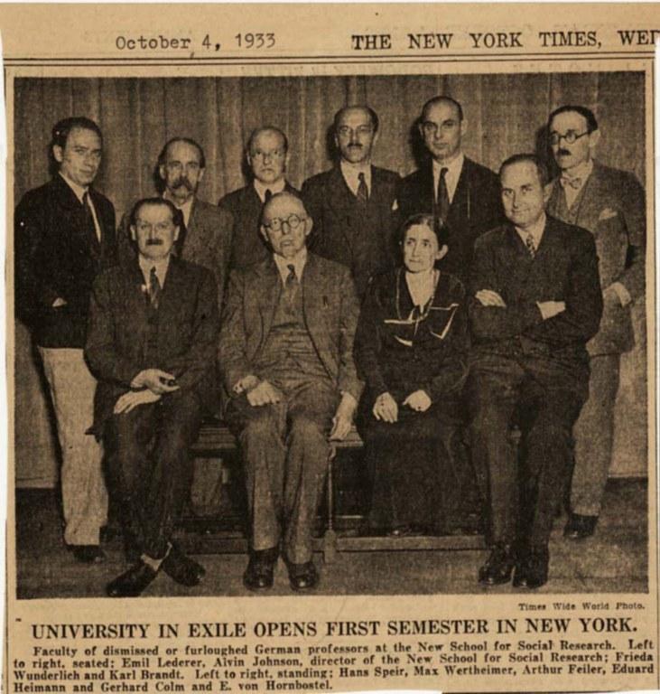Mitglieder der University of Exile, Schwarz-Weiß-Photographie, Times Wide World Photos, 1933; Bildquelle: New York Times vom 4. Oktober 1933.