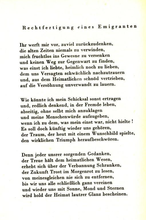 Max Herrmann-Neisse (1886-1941), Rechtfertigung eines Emigranten (1938), in: Ders: Letzte Gedichte, London u.a. 1941, S. 104.