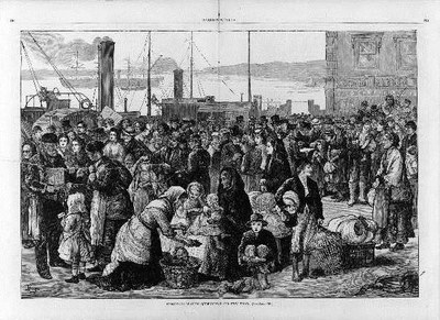 Emigrants leaving Queenstown for New York / M.F., wood engraving, 1874, unknown artist; source: Harper's Weekly, 26 September 1874, pp. 796–797, Library of Congress, Reproduction Number: LC-USZ62-105528 (b&w film copy neg.), http://www.loc.gov/pictures/item/92513178/.