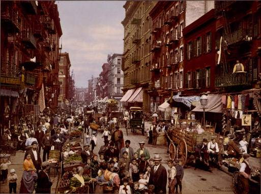 Mulberry Street, New York City, coloured photochrom, c. 1900, unknown photographer, Detroit Publishing Co.; source: Library of Congress, Prints and Photographs Division Washington, http://hdl.loc.gov/loc.pnp/cph.3g04637.