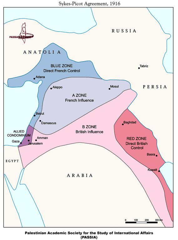 Das Sykes-Picot-Abkommen von 1916, Karte, unbekannter Ersteller; Bildquelle: Palestinian Academic Society for the Study of International Affairs (PASSIA), http://www.passia.org/palestine_facts/MAPS/1916-sykes-picot-agreement.html.