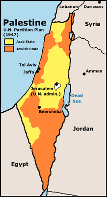 """Bildquelle: http://commons.wikimedia.org/wiki/File:UN_Partition_Plan_For_Palestine_1947.png Scan from """"Issues in the Middle East"""", Atlas, U.S. Central Intelligence Agency, 1973."""