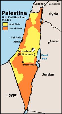 Der UN-Teilungsplan von 1947; Karte, 1973; Bildquelle: U.S. Central Intelligence Agency (Hg.): Issues in the Middle East: Atlas, 1973. http://commons.wikimedia.org/wiki/File:UN_Partition_Plan_For_Palestine_1947.png, gemeinfrei.
