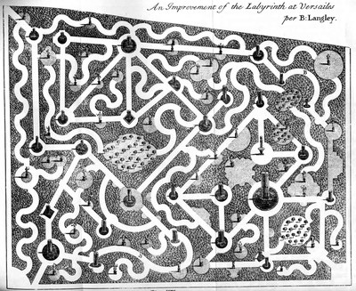 An Improvement of the Labyrinth at Versailes; Bildquelle: Langley, Batty: New Principles of Gardening, London 1728, Tafel VIII, http://archive.org/stream/mobot31753000819141#page/n240/mode/1up.