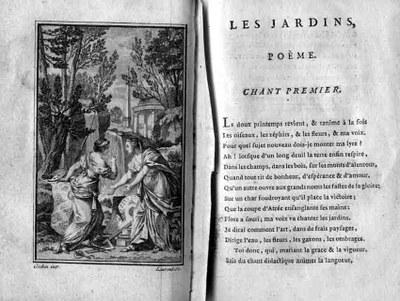 Die Malerei macht der Architektur die Gartenkunst streitig, Radierung von Pierre-François Laurent (1739–1809) nach Charles-Nicolas Cochin (1715–1790); Bildquelle: Delille, Jacques: Les jardins, ou l'art d'embellir les paysages, Paris 1782.