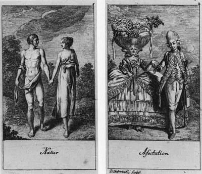 Daniel Nikolaus Chodowiecki (1726–1801), Natur/Afectation, Radierung und Kupferstich, 1778; Bildquelle: Chodowiecki, Daniel Nikolaus: Natürliche und affectirte Handlungen des Lebens, 1778, Tafel 1 und 2.