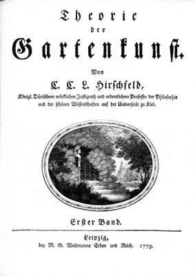 Christian Cay Lorenz Hirschfeld (1742–1795), Theorie der Gartenkunst, Leipzig 1779–1785, Titelblatt des ersten Bandes; Bildquelle: Zentralinstitut für Kunstgeschichte, München.
