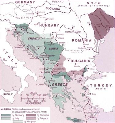 Der von den Achsenmächten dominierte Balkan (1941–1944), Karte, unbekannter Ersteller; Bildquelle: Hupchick, Dennis P. / Cox, Harold E.: The Palgrave Concise Historical Atlas of the Balkans, New York u.a. 2001, Karte 44.