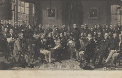 Samuel Bellin (1799–1894), Meeting of the Council of the Anti-Corn Law League, engraving, 1847, after a painting by John Rogers Herbert (1810–1890); source: Government Art Collection, GAC 18361. © Crown copyright: UK Government Art Collection.http://www.gac.culture.gov.uk/work.aspx?obj=35442