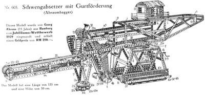 Abraumbagger nach dem Vorbild der Fa. Krupp, Vorlagenbuch zu einem Metallbaukasten des Herstellers Stabil, um 1930, Bildquelle: Werner Sticht, Stabilbaukästen, Internetdarstellung, http://home.arcor.de/stabil_baukasten_modelle/walther/stabil/peri4/peri4.html)