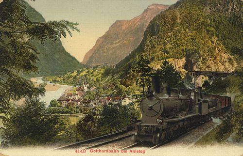 Gotthardbahn bei Amsteg, Schweiz, farbige Bildpostkarte, o. J. [um 1900], Verlag: Edition Photoglob Co., Zürich; Bildquelle: Zenodot Verlagsgesellschaft mbH, Zeno.org, http://www.zeno.org/Bildpostkarten/M/Eisenbahn/Dampflokomotiven/Gotthardbahn+bei+Amsteg.