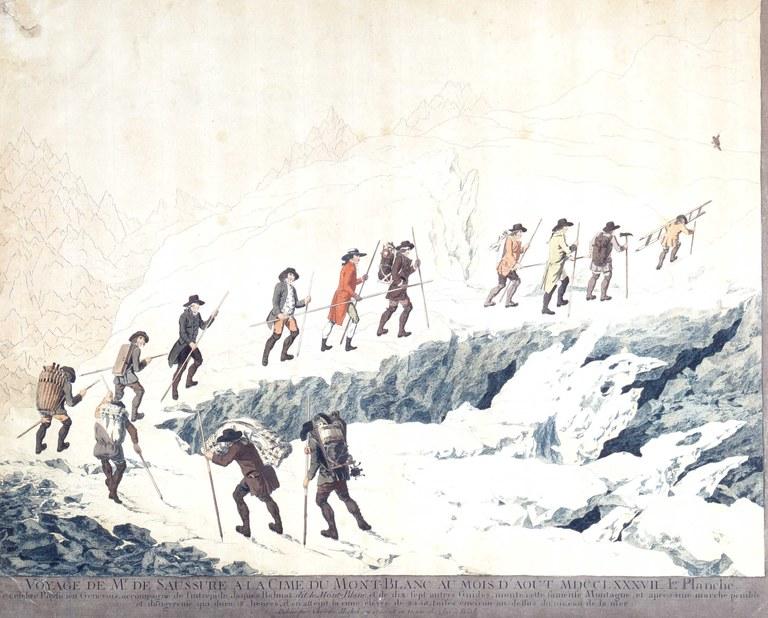 Marquard Wocher (1760-1830) und Christian von Mechel (1737-1817), Horace-Bénédict de Saussure (1740–1799) mit Begleitern und Bergführern auf dem Weg zum Montblanc-Gipfel, Kolorierter Kupferstich, 1790; Bildquelle: Deutscher Alpenverein München, Inv.-Nr. AM 79/57.
