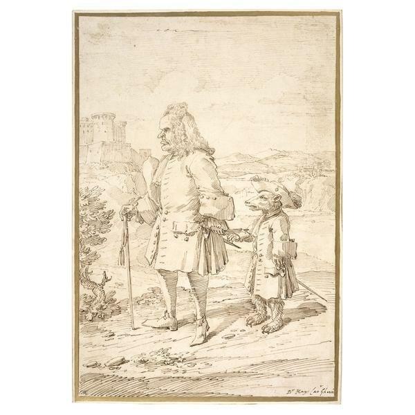 """Pier Leone Ghezzi, Dr James Hay als """"Bärenführer"""", 18. Jahrhundert IMG"""