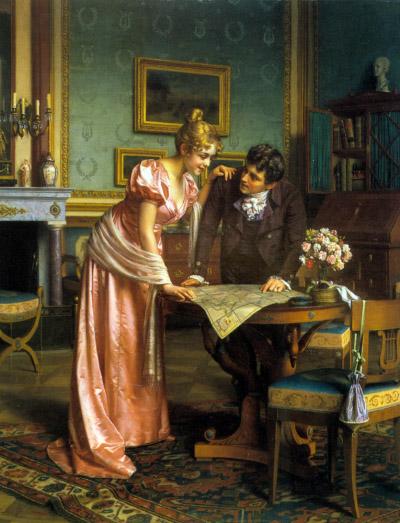 Emil Brack (1860–1905), Planning the Grand Tour, Öl auf Leinwand, 71 x 88 cm, o. J., Privatbesitz; Bildquelle: Art Renewal Center Museum, http://www.artrenewal.org/pages/artist.php?artistid=6529