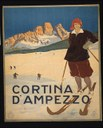 Werbeplakat für den Wintersportort Cortina d'Ampezzo in den italienischen Dolomiten, Ente Nazionale per le Industrie Turistiche, farbige Lithographie, 100 x 68 cm, o. J. [ca. 1920], unbekannter Künstler, Rom: A. Marzi; Bildquelle: DIGITAL ID: (digital file from color film copy transparency) cph 3g12496 http://hdl.loc.gov/loc.pnp/cph.3g12496.