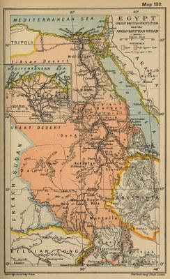 Egypt Under British Protection and the Anglo-Egyptian Sudan, undatierte Karte, unbekannter Künstler; Bildquelle: Courtesy of the University of Texas Libraries, The University of Texas at Austin, http://www.lib.utexas.edu/maps/historical/ward_1912/egypt_under_british.jpg.