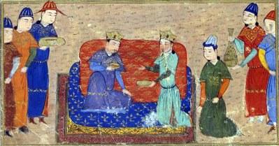 Sayf al-Vâhidî: Dschingis Khan (1162–1227) und Toghril Ong Khan, 1430, in: Rashîd al-Dîn Fazl-Ullâh / Djâmi' al-Tavârîh: Supplément persan 1113, fol. 105; Bildquelle: Bibliothèque nationale de France, http://mandragore.bnf.fr/jsp/switchExpert.jsp?division=Mix&desc=toghril.ong.khan&idDesc=11918.
