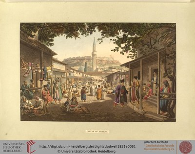 Edward Dodwell (1767–1832), Bazar of Athens, 1821; Bildquelle: Views in Greece, London 1821, vol. 1, S. 377, Digitalisat: Universität Heidelberg, http://digi.ub.uni-heidelberg.de/diglit/dodwell1821/0051.Attribution-NonCommercial-ShareAlike 3.0 Unported licensehttp://creativecommons.org/licenses/by-nc-sa/3.0/