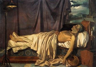 Joseph Dionysius Odevaere (1775– 1830), Byron auf dem Totenbett, Öl auf Leinwand, 166x234,5 cm, circa. 1826; Bildquelle: Groeningemuseum, Brügge.