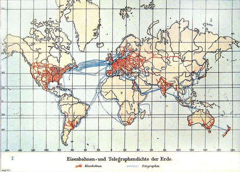 Kartographische Darstellung der Eisenbahnen- und Telegraphendichte der Erde; Bildquelle: Andree, Richard / Scobel, Albert (Hg.): Allgemeiner Handatlas in 126 Haupt- und 139 Nebenkarten nebst vollständigem alphabetischem Namensverzeichnis, 4. Aufl., Bielefeld 1901, S. 17 (Kolonial- und Weltverkehrskarte), wikimedia commons, http://commons.wikimedia.org/wiki/File:Eisenbahnen-_und_Telegraphendichte_der_Erde_um_1900.jpg?uselang=de, gemeinfrei.
