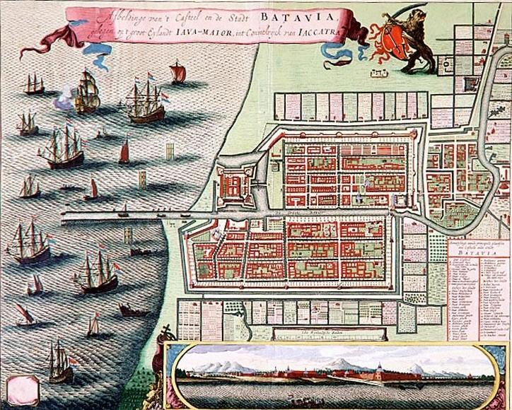 """Afbeldinge van 't Casteel en de Stadt Batavia…"", kolorierter Stich von C. de Jonghe [?] nach M. du Chesne [?], Amsterdam: R. & J. Ottens 1740; Bildquelle: De Nationale Bibliotheek van Nederland in Den Haag, Sammlung Atlas Van Stolk, 3597-3, http://www.geheugenvannederland.nl/?/nl/items/ATVS02:17289."