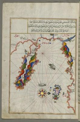 Piri Reis (ca. 1467–ca.1554), Karte des Gebiets westlich der Insel Thasos und der Athos Halbinsel IMG