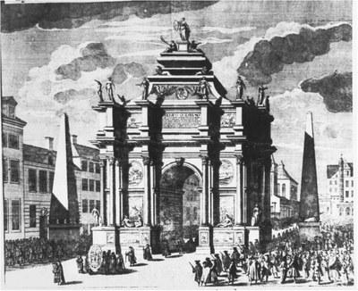 Berlin, Triumphbogen in der Breitenstraße mit dem Leichenzug des Großen Kurfürsten (Friedrich Wilhelm) IMG