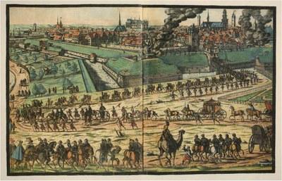 Einzug der englischen Gesandtschaft in Kassel durch das Müllertor, 1598 IMG
