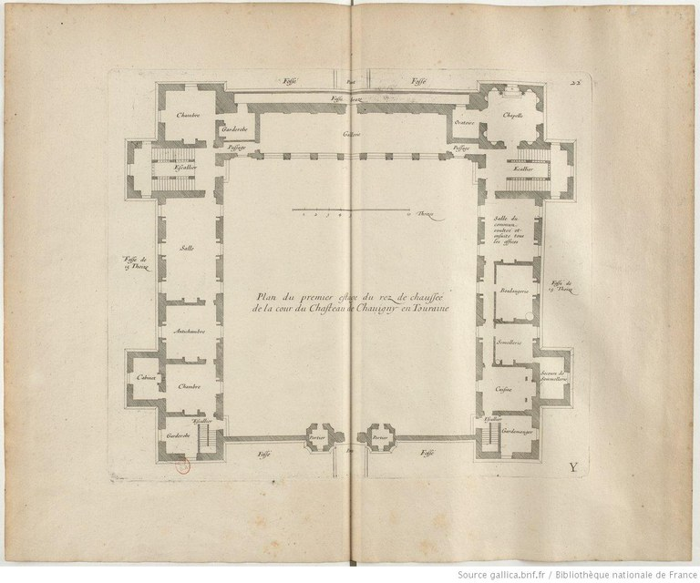 Plan du premier étage du rez-de-chaussée de la cour du château de Chavigny en Touraine IMG
