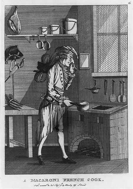 "Englische Karikatur ""A macaroni French cook"" ca. 1772 IMG"