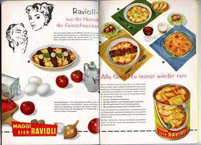 Werbeanzeige der Firma Maggi für Dosenravioli im Lesezirkel, Deutschland 1957; Bildquelle: Mit freundlicher Genehmigung der Maggi GmbH; © Maggi GmbH.