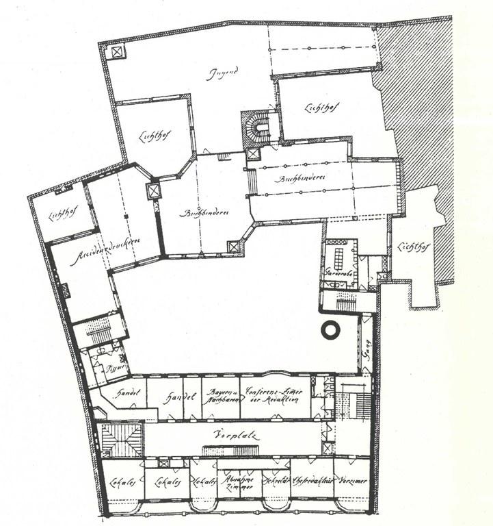 Grundriss des Gebäudes der Münchener Neuesten Nachrichten 1906 IMG