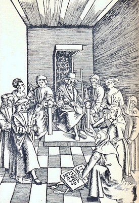 Judeneid (Juden vor Gericht schwörend). Nach Tengeler Laienspiegel, Augsburg 1509; Bildquelle: Jüdisches Lexikon, Berlin 1927, vol. III, Sp. 420.