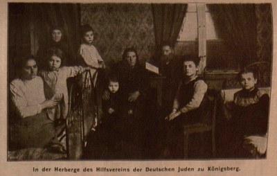 """""""In der Herberge des Hilfsvereins der Deutschen Juden in Königsberg"""", unbekannter Photograph, 1906; Bildquelle: Fünfter Geschäftsbericht des Hilfsvereins der Deutschen Juden (1906), Berlin 1907, S. 86."""