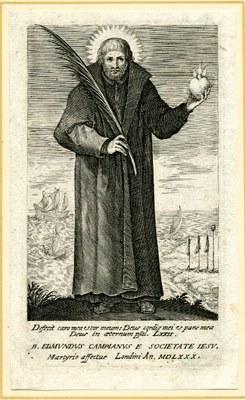 Portrait von Edmund Campion (1540–1581), Stich, 126x72 mm, 17. Jahrhundert, unbekannter Künstler; Bildquelle: © Trustees of the British Museum, http://www.britishmuseum.org/join_in/using_digital_images/using_digital_images.aspx?asset_id=518036&objectId=3108003&partId=1.