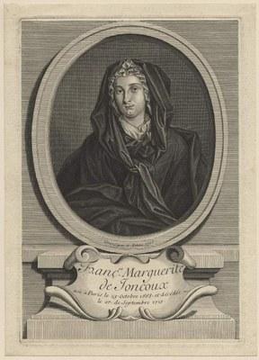 Nicolas Pitau II. (1670–1724), Portrait von Françoise-Marguerite de Joncoux (1668–1715), Stich, 1716; Bildquelle: © The Fitzwilliam Museum, Cambridge http://www.fitzmuseum.cam.ac.uk/, http://www.fitzmuseum.cam.ac.uk/id/object/145573