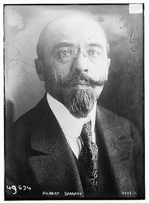 Albert Sarraut (1872–1962), schwarz-weiß Photographie, ohne Datum, unbekannter Photograph, Bain News Service; Bildquelle: Library of Congress, Prints and Photographs Division Washington, http://hdl.loc.gov/loc.pnp/ggbain.23139.