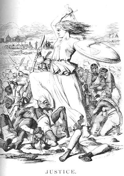 """John Tenniel (1820–1914), """"Justice"""", Karikatur, Großbritannien, 1857; Bildquelle: Punch Magazine vom September 1857; Bildquelle: wikimedia commons, http://en.wikipedia.org/wiki/File:JusticeTenniel1857Punch.jpg."""