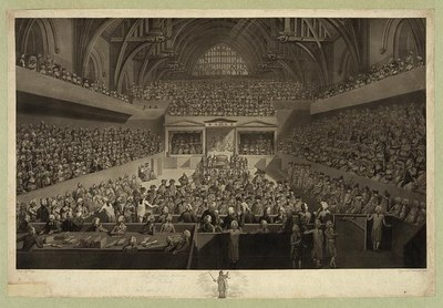 """A view of the tryal of Warren Hastings Esqr. before the Court of Peers in Westminster Hall on an impeachment delivered at the Bar of the House of Lords by the Commons of Great Britain in Parliament assembled February 13, 1788"", Aquatinta-Radierung nach einer Zeichnung von Edward Dayes (1763–1804), 1789, Radierung: Robert Pollard (1755-1838), Aquatinta: Francis Jukes (1745–1812); Bildquelle: Library of Congress, Prints and Photographs Division Washington, http://hdl.loc.gov/loc.pnp/pga.03196."