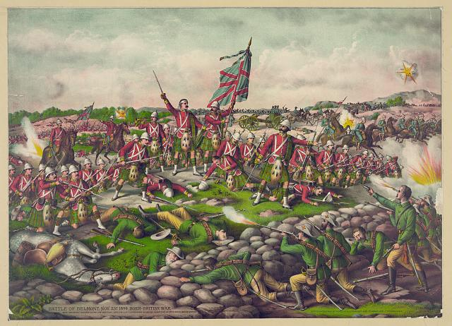 """Battle of Belmont. Nov. 23D 1899. Boer-British War"", Chromolithographie, USA, ohne Datum (um 1899), unbekannter Künstler, Verleger: Kurz & Allison, Chicago; Bildquelle: Library of Congress, Prints and Photographs Division Washington, http://www.loc.gov/pictures/item/2003656549."