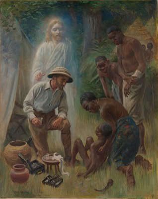 A medical missionary attending to a sick African