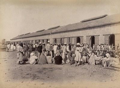 Quarantäne-Bereich während eines Ausbruchs der Beulenpest in Karachi, Indien