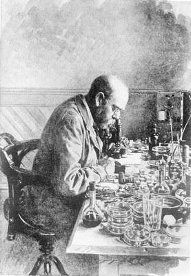 Robert Koch in seinem Labor in Kimberley, Südafrika