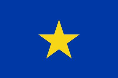 Fahne der Association internationale du Congo, Ersteller: Moyogo; Bildquelle: http://en.wikipedia.org/wiki/File:Flag_of_Congo_Free_State.svg, gemeinfrei.