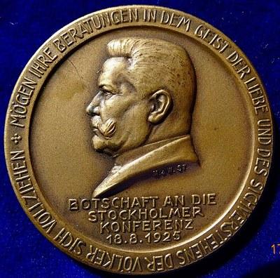 Medaille Hindenburg Stockholmer Konferenz 1925 Vorderseite