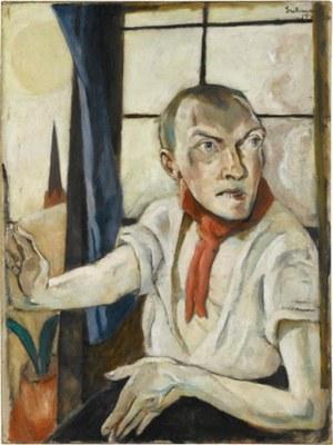Max Beckmann (1884–1950), Selbstbildnis mit rotem Schal, 1917