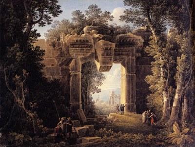 Louis François Cassas, Landschaft mit dem Portal der Cella des Bacchustempels in Baalbek, Feder und schwarze Tinte, Aquarell, 1793. Bildquelle: Albertina, Wien, Inv. 15354, www.albertina.at