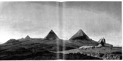 Pyramides de Memphis, Vue générale des pyramides et du sphinx prise au soleil couchant, in: Description de l'Égypte, Antiquités, vol. V, Taf. 8 (Description de l'Égypte, Köln u.a. 2007, S. 469, Detail)
