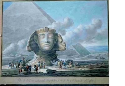 Louis-François Cassas: Vue de la tête colossale du Sphinx et de la 2ème Pyramide d'Egypte. Kolorierte Radierung, 19. Jh., 88 x 65 cm. Quelle: Tours, musée des Beaux-Arts, http://webmuseo.com/ws/mbat/app/collection/record/56. © Tours, musée des Beaux-Arts, cliché P. Boyer.
