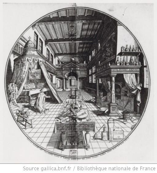 Paul van den Doort, Das Laboratorium des Alchemisten, Kupferstich, 1609; Bildquelle: www.gallica.bnf.fr, Permalink: http://gallica.bnf.fr/ark:/12148/btv1b84185150/f1.